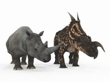 Rhino And Einiosaurus Dinosaur Photographic Print by Walter Myers