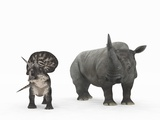 Zuniceratops Dinosaur And Rhino Photographic Print by Walter Myers