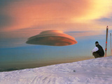 Skier Looks At a Lenticular Cloud Posters by Magrath