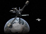 Lunar Cycler Approaching Earth, Artwork Photographic Print by Walter Myers
