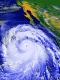 Coloured Satellite Image of Hurricane Linda Prints by  NASA