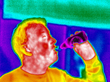 Drinking Beer, Thermogram Print by Tony McConnell