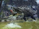 Suchomimus Dinosaur Hunting, Artwork Stampe di Walter Myers