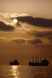 Cargo Ships In Burrard Inlet Photographic Print by David Nunuk