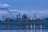 Oil Refinery At Dusk Photographic Print by David Nunuk