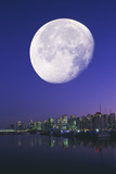 Gibbous Moon Over Vancouver Photographic Print by David Nunuk