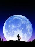 Full Moon Rising Premium Photographic Print by David Nunuk