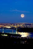 Moon Over Vancouver, Time-exposure Image Photographic Print by David Nunuk