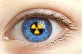 Eye with Radiation Warning Sign Photographic Print by  PASIEKA