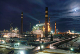 Petrochemical Factory At Night Prints by Ria Novosti