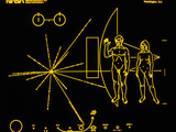 Coloured Pictorial Plaque on Pioneer 10 And 11 Photographic Print by  NASA