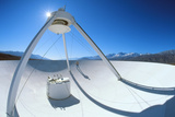 Man on a VLBA Radio Telescope, Owens Valley, USA Photographic Print by David Nunuk