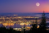 Vancouver At Night, Time-exposure Image Photographic Print by David Nunuk