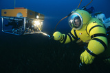 Newtsuit Rescue Diver with ROV Photographic Print by Alexis Rosenfeld