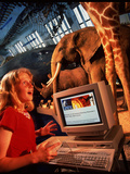 Girl Uses the Internet At Natural History Museum Prints by David Parker