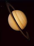 Voyager 1 Image of Saturn & Three of Its Moons Premium Photographic Print