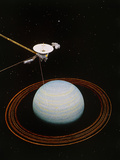 Artwork Showing Voyager 2 Nearing Uranus Photo by  NASA