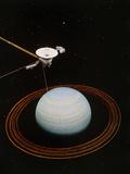 Artwork Showing Voyager 2 Nearing Uranus Photographic Print by  NASA