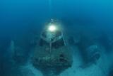 Diver In Sunken Plane Poster by Alexis Rosenfeld