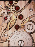 Internal Cogs And Gears of a 17-jewel Swiss Watch Fotografisk tryk af David Parker