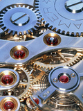 Internal Cogs And Gears of a 17-jewel Swiss Watch Premium Photographic Print by David Parker