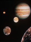 Voyager Mosaic of Jupiter & Its 4 Galilean Moons Photographic Print by  NASA