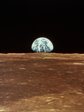 Apollo 11 View of Earth Rising Over Moon's Horizon Photographic Print