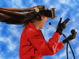 Researcher Wearing Virtual Reality Headset Photographic Print by  NASA