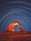 Star Trails Seen Through a Natural Rock A Poster by David Nunuk
