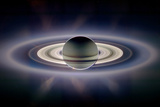 Saturn Silhouetted, Cassini Image Reproduction photographique