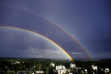 Double Rainbow Over a Town Photographic Print by Pekka Parviainen