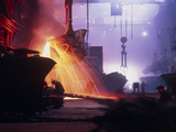 Sparks Fly In a Foundry During Copper Smelting Photographic Print by Ria Novosti