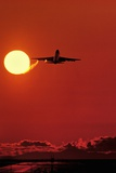 Boeing 747 Taking Off At Sunset Posters by David Nunuk