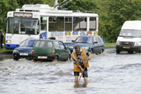 Road Flooded by Heavy Rains Photographic Print by Ria Novosti