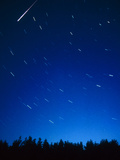 Time-exposure Showing Meteor Track & Star Trails. Photographic Print by Pekka Parviainen