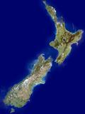New Zealand, Satellite Image Fotografisk tryk af  PLANETOBSERVER