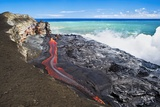 Lava Flowing Into Ocean, Hawaii Photographic Print by David Nunuk