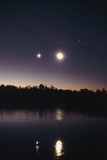 Moon & Venus At Dawn Over Lake Photographic Print by Pekka Parviainen