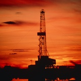 Oil Drilling Rig, Russia, At Sunset Photographic Print by Ria Novosti