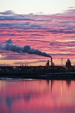 Oil Refinery At Sunset Photographic Print by David Nunuk