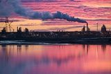 Oil Refinery At Sunset Prints by David Nunuk