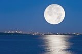 Moonrise Over Vancouver Harbour Photographic Print by David Nunuk