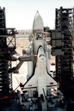 Russian Buran Space Shuttle on Launchpad Print by Ria Novosti