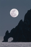 Full Moon Rising Over a Coastal Cliff Posters by David Nunuk