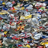 minium Recycling: Compressed Aluminium Cans Photographic Print by Damien Lovegrove