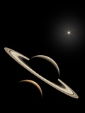 Saturn And Titan's Lakes Photographic Print by David Parker