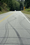 Skid Marks on a Road Posters by Alan Sirulnikoff