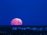 A Distorted Full Moon Seen Just Above the Horizon Photographic Print by Pekka Parviainen