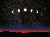Composite Time-lapse Image of the Lunar Phases Photographic Print by John Sanford