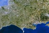 Satellite Image of Southwest England Print by  PLANETOBSERVER